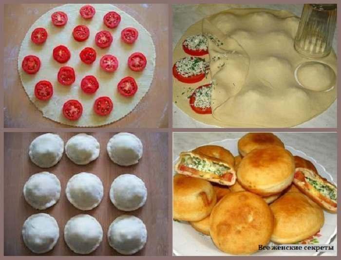 Пирожки с помидорами и брынзой