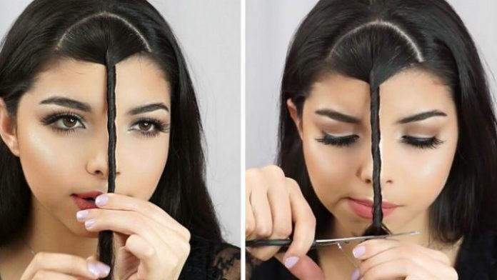Она закрутила волосы и взяла ножницы