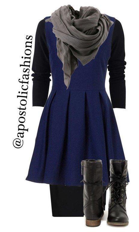 Элегантный темно-синий цвет в образах