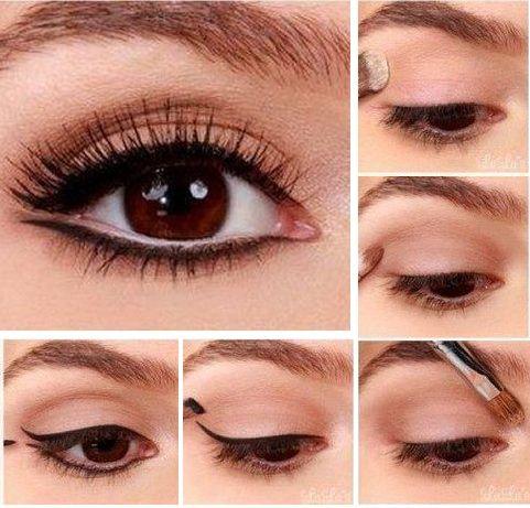 Пошаговое фото варианта свадебного макияжа для девушек с карими глазами