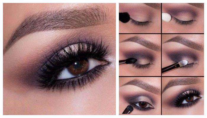 Пошаговое фото выполнения вечернего макияжа для карих глаз